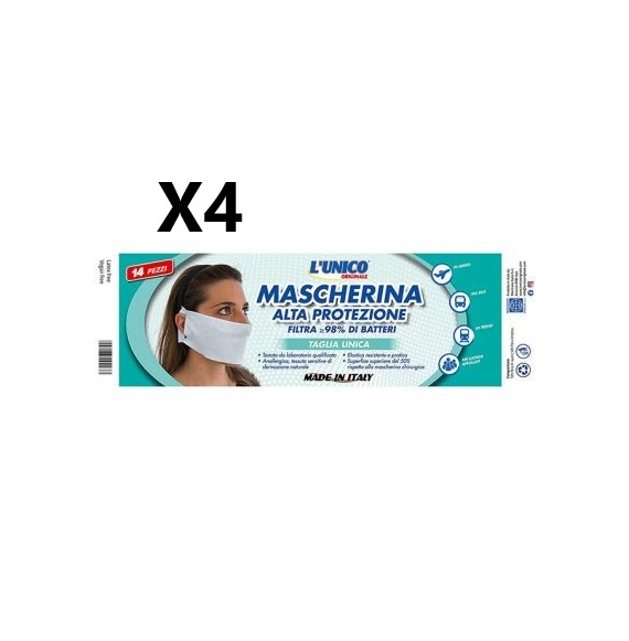 4 PEZZI L'Unico Originale Mascherina Alta Protezione Antibatterica 98% 14pz