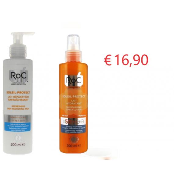 RoC® SOLEIL PROTECT Latte DOPO SOLE + RoC® SOLEIL PROTECT CORPO Lozione Spray Idratante SPF50+