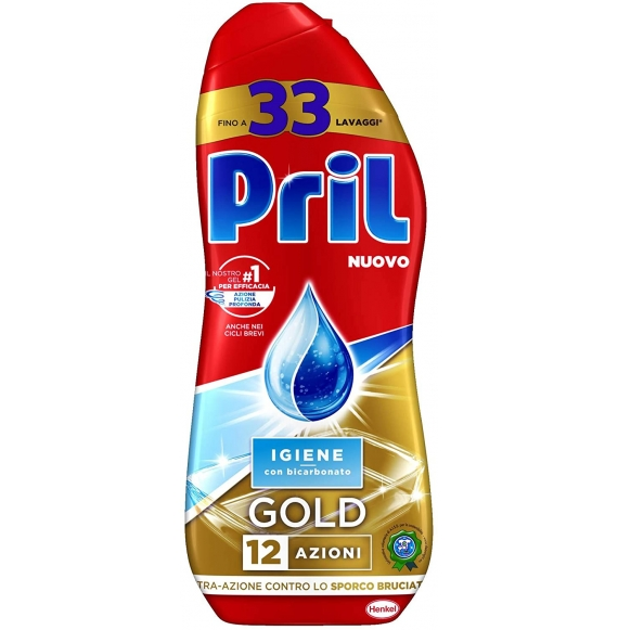 Pril Gold Gel Lavastoviglie Igiene, Detersivo Lavastoviglie con Bicarbonato 600 ml
