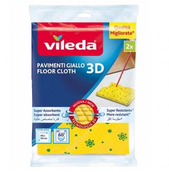 Vileda Panno Pavimenti Giallo Microforato +30% Microfibra 2X